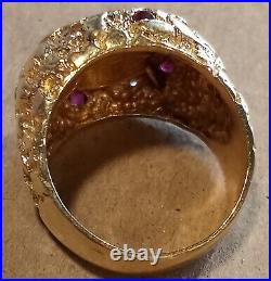 Solid 14k Yellow Gold 21.6 Gr Men's Coin RING with1986 American Eagle 1/10 Size 12