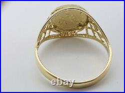 Solid Genuine 9ct Yellow Gold One Peso Coin Ring Size L