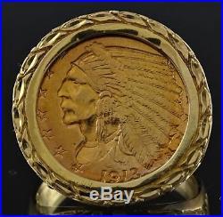 Superb 1913 $2 1/2 Indian Quarter Eagle 22k Gold Coin & Nwot 14k Solid Gold Ring