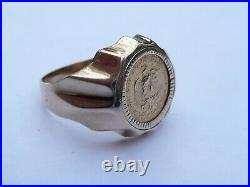 Superb Mens Solid 22ct Gold Dos Pesos Coin Signet Pinky Ring Size R 7.7 Grams