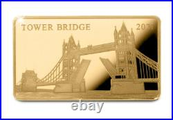 The London Tower Bridge Pure Gold Coin-Bar has been struck in solid 24carat gold