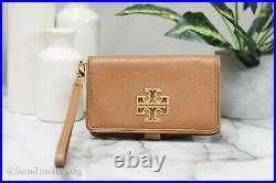 Tory Burch (60417) Britten Leather Bark/Rolled Gold Smartphone Wristlet Wallet