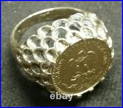 UNIQUE Solid 14k Yellow Gold Coin Pinky RING with1945 Mexico 2 Peso 7 Grams Size 4