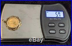 US Liberty $5 Eagle 22K Coin 1994 14K Solid Gold Bezel Bale Pendant Necklace