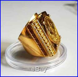 Unique Handmade 18k solid gold Ring with 22k coin 26.81 g