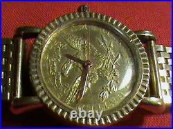 Unique Vintage 10K Solid Case Lucien Piccard 1O Dollar Gold Coin Watch Quartz