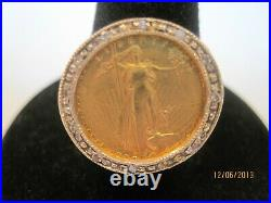 Vintage 14k Solid Gold 0.12ctw Diamond Bezel Gold Eagle Coin Ring Size 7.75