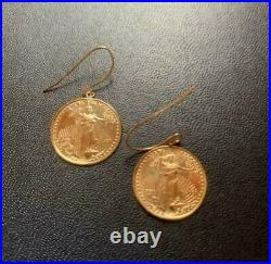 Vintage 22K One Dollar Standing Liberty Head Coin Design Earrings Solid Gold