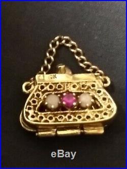 Vintage Coin Purse Handbag Charm Pendant 10K Solid Gold Filigree Ruby Shapphire