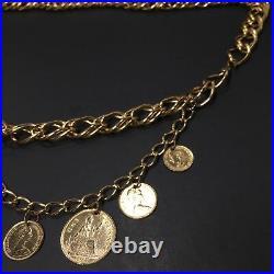 Vintage Gold Tone Dei Gratia Regina Elizabeth II British Coin Metal Swag Belt
