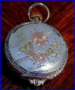 WALTHAM 1891 Sz0s 1/2 HUNTER 10K SOLID GOLD&TRI COLOR-COIN SILVER POCKET WATCH