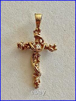 Wow Solid 14k Yellow Gold Diamond Nugget Cross, See Other Gold Jewelry & Coins