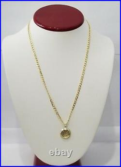 Yellow Gold Dos Pesos Copy Coin Pendant 1945 Medallion 20 Inch Solid Chain